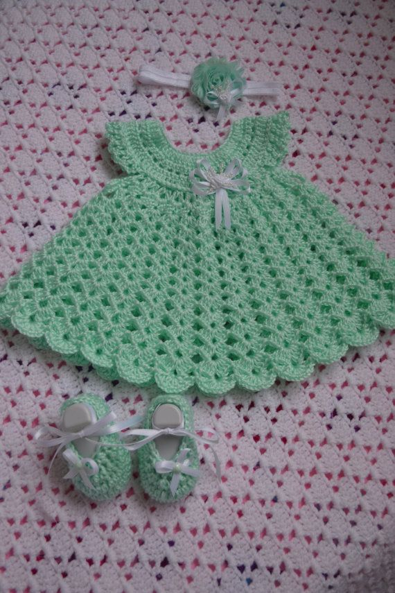 Crochet Baby girl Dress set by BellasBabyTreasures on Etsy