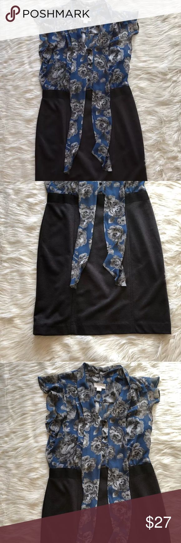 "Ann Taylor LOFT Career Dress Size 12 Floral Ruffle Ann Taylor career dress women's size 12. In great condition. Recently dry cleaned.   Approx measurements  Armpit to armpit 22"" Shoulder to hem 37"" LOFT Dresses Midi"