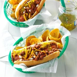 Chili Coney Dogs Recipe- Recipes  Everyone in our family, from smallest kids to oldest adults, loves these hot dogs. They're so easy to throw together in the morning, or even the night before. —Michele Harris, Vicksburg, Michigan