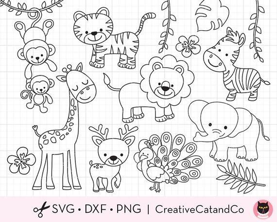 Safari Animals Outline Coloring Svg Clipart Wild Jungle Etsy In 2021 Animal Outline Safari Animals Animal Nursery Theme