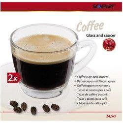 Termékleírás  2 db-os üveg kávéscsésze készlet csészealjjal Átmérő: 8 cm
