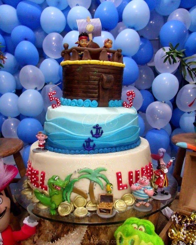 Festa Infantil - Jake e os Piratas da Terra do Nunca. #Bolo #Cake #boloinfantil