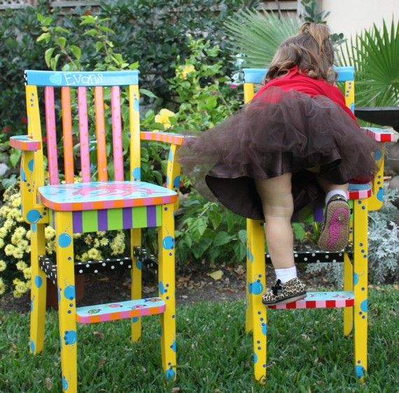 Custom Painted Youth Chair High Chair Kids Chair Childs Chair Toddler Chair FREE SHIPPING via Etsy