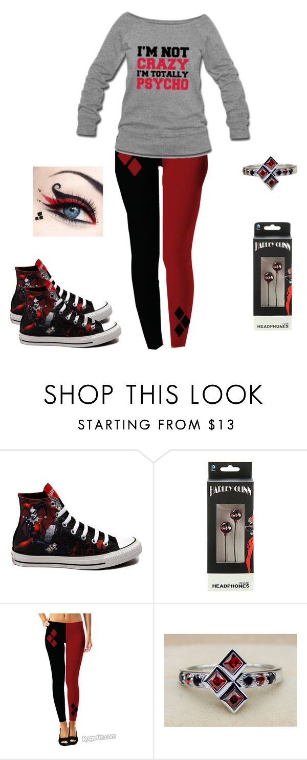 """""""Harley Quinn Inspired outfit"""" by gingerale0522 ❤ liked on Polyvore featuring Converse"""