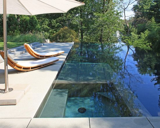 gorgeous outdoor space in wooded area | houzz.com | Make Your Own Patio Furniture Design, Pictures, Remodel, Decor and Ideas - page 13: Lounges Chairs, Small Yard, Lewis Aquatech, Swim Pools, Spa Design, Pools Spa, Pools Design, Infinity Pools, Modern Pools
