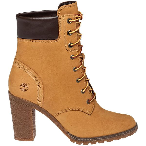 TIMBERLAND Glancy Wheat Suede Lace-Up Boot ($130) ❤ liked on Polyvore featuring shoes, boots, ankle booties, ankle boots, work boots, lace up work boots, suede ankle booties, lace up booties and high heel boots