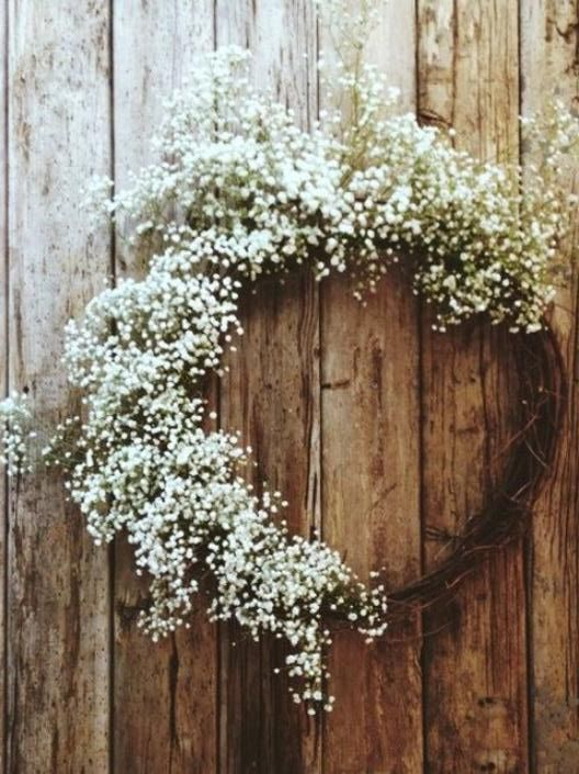 Place natural elements throughout your simple hall. Sweet wreaths all over, bride them up with lace and/or flowers. A bit of baby's breath sings.