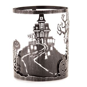 Haunted House Halloween Pumpkins Candle Wrap.  £16.50  Haunt Scentsy Warmer wrap changes the style of your Silhouette Collection Warmer (Etched Core or Travertine).  Scentsy Warmers gently warms wax melts with LED light bulbs. Hand Detailed. Great for pets, Kids. No fire hazard. A safer, cheaper way to add fragrance to your home. Get in touch to find out how to get for 1/2 off!!