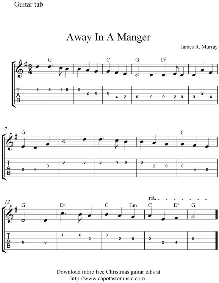 Free Sheet Music Scores Easy Christmas Guitar Tablature Away In A Manger