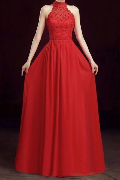 New Arrival Prom Dress,Red Chiffon Prom Dresses,A Line Prom Dress, Simple Evening Dress,Appliques Formal Dress