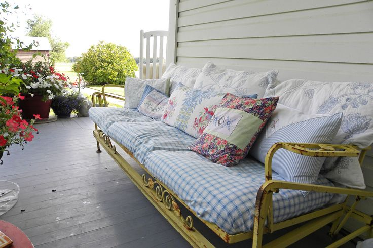 Beautiful glider rockers in Porch Farmhouse with Outdoor Daybed next to Colonial Front Porch alongside Front Porch Portico and Front Porch Furniture