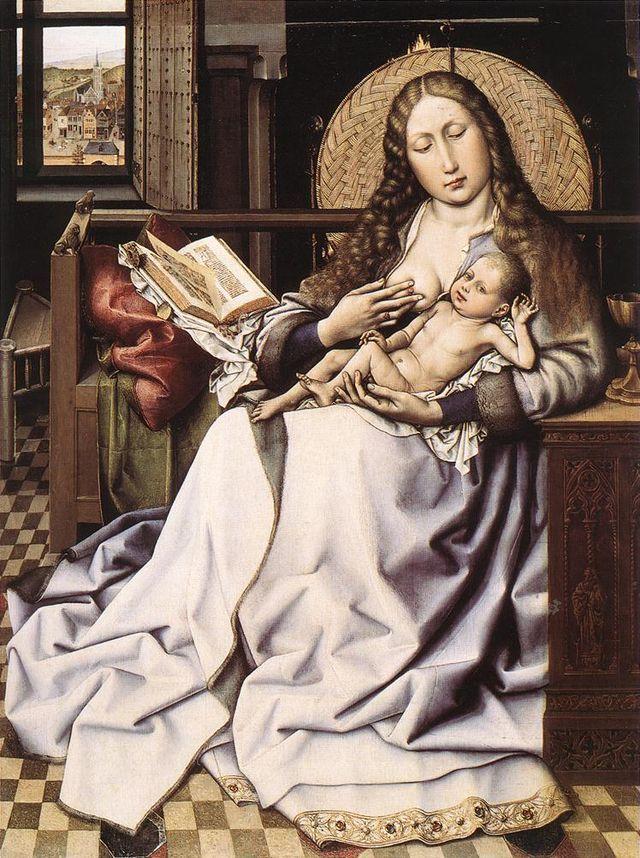 Robert Campin - The Virgin and Child before a Firescreen.