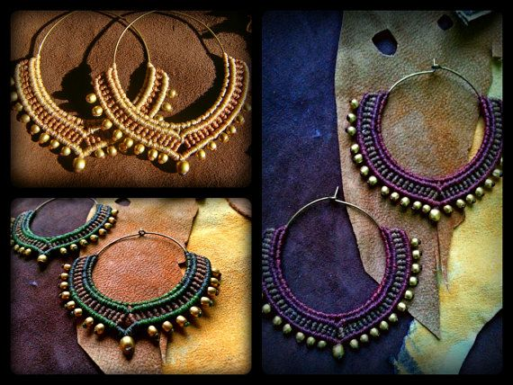 Tribal Macrame Jewelry / Hoop Earrings / Macrame Earrings / Brass Beads