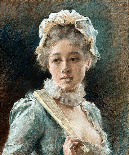 Nuori nainen viuhka kädessä