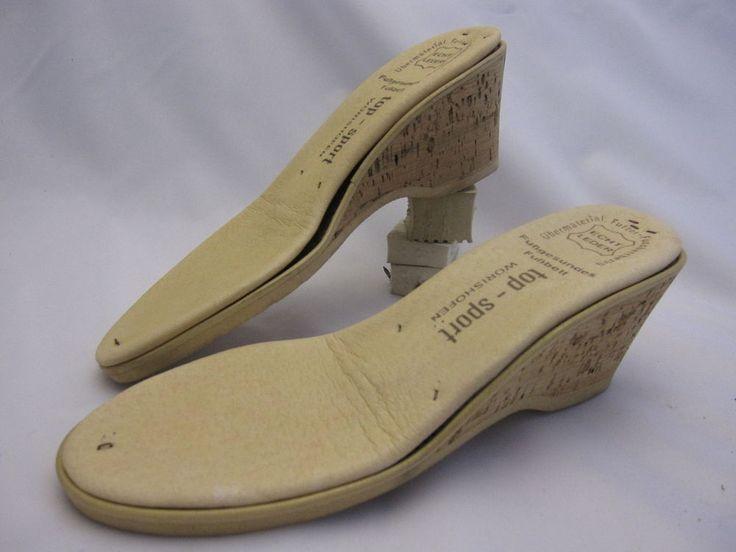 Korksohle mit Fußbett Lederbezug, Keilhöhe ca. 6 cm