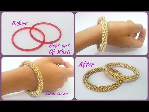 f7e4a88c38e Silk Thread Jewelry   Turn Old Glass Bangles to Trendy Pearl & Stone Bangles    Best Out of Waste - YouTube