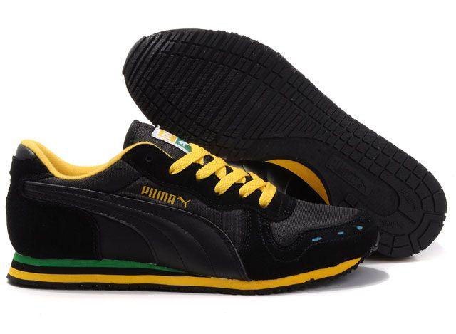 Roma Suede, Sneakers Basses Mixte Adulte, Noir Black White Team Gold-Amazon Green, 36 EUPuma