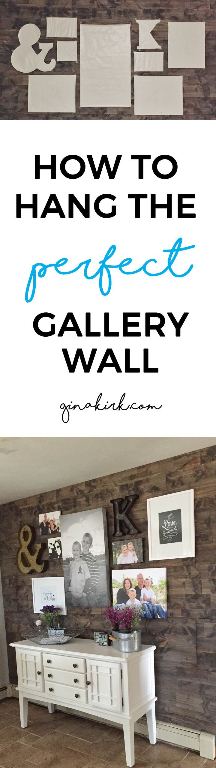How to hang the perfect gallery wall - home decor, DIY gallery wall - my secret! Fixer upper inspired kitchen gallery wall!