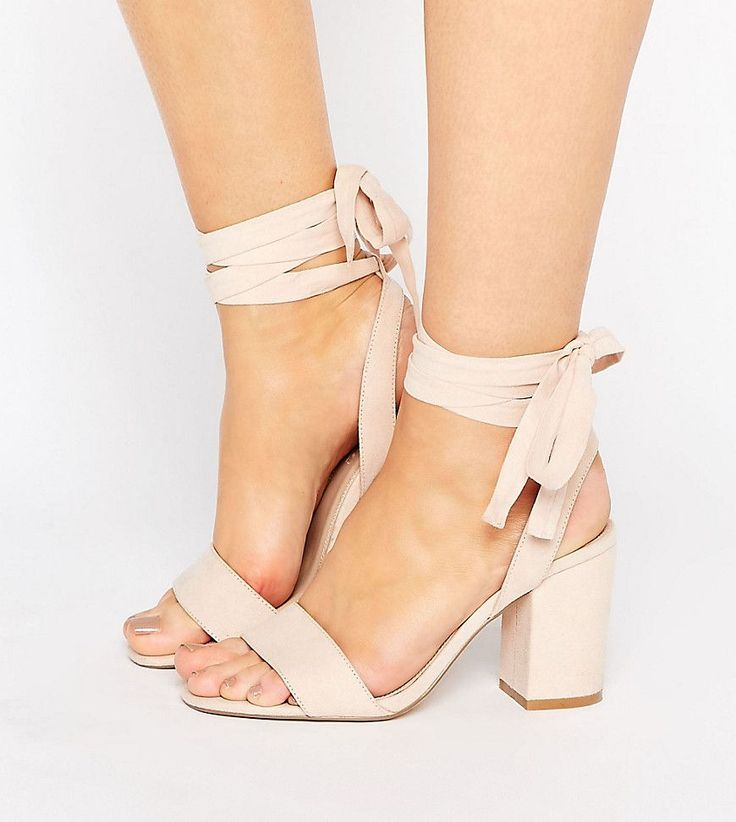 ASOS HOLDING ON Wide Fit Tie Leg Sandals - Beige