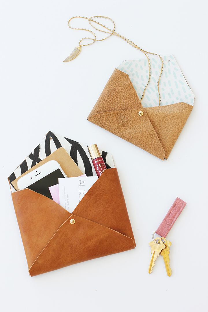 DIY Leather Envelope Clutch | Easy No Sew Beginner Project - would make a fun quick gift