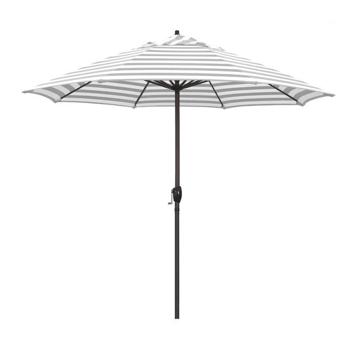 This large umbrella offers the residential owner a beautiful market design. The aluminum frame has a simple crank to open and push to tilt design. The push button tilt style keeps the tilt feature and user-friendly crank-to-open feature separate within the frame; adding to the umbrella's longevity. Owners can simply crank open their umbrella and push a button to tilt the canopy toward the sun.