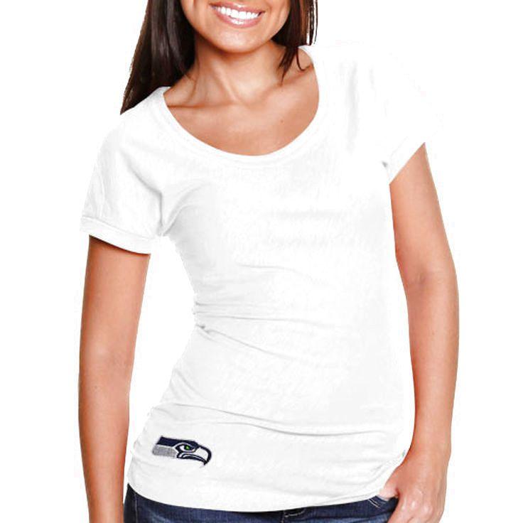 Cutter & Buck Seattle Seahawks Double Team Slub Scoop Neck T-Shirt - White - $47.99