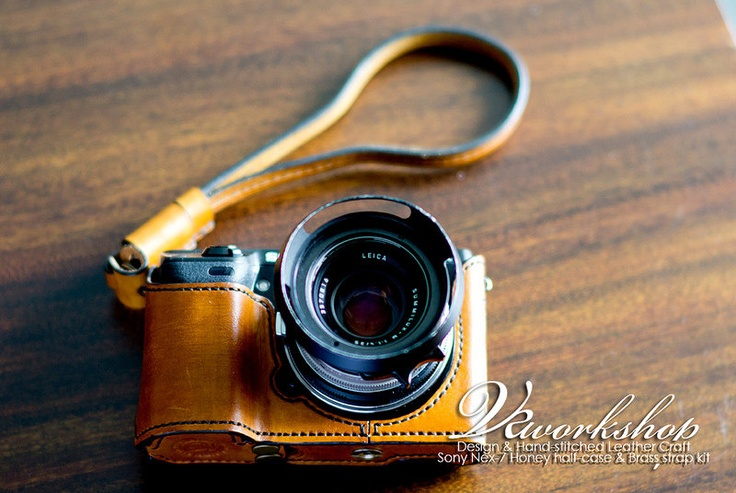 Camera Case for NEX-7 Leather Half Case (With Wrist Strap). $195,00 USD, via Etsy.