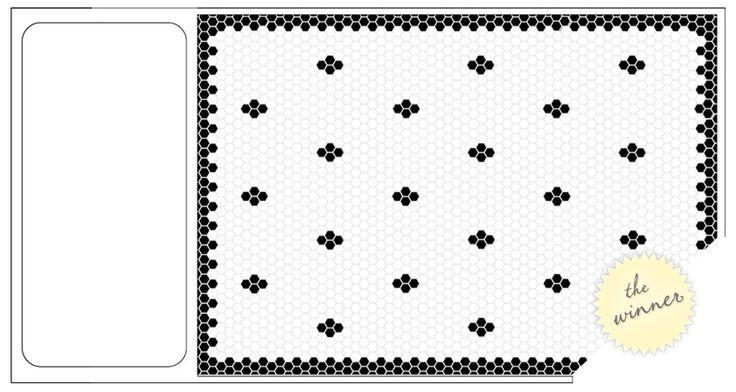 Custom Black and White Hexagon tile LIKE THE BORDER, ALL WHITE INTERIOR. MAYBE BORDER IS SLATE GREY INSTEAD OF BLACK