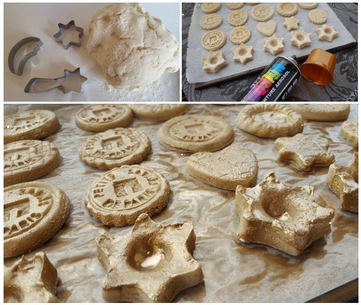 #DIY Réalisez de jolis #bougeoirs en pâte à sel avec #babou : lot de 5 emporte-pièces à 5€ (dont l'étoile) et #bombe de de #peinture à 7€ ! @dzidéesdenana
