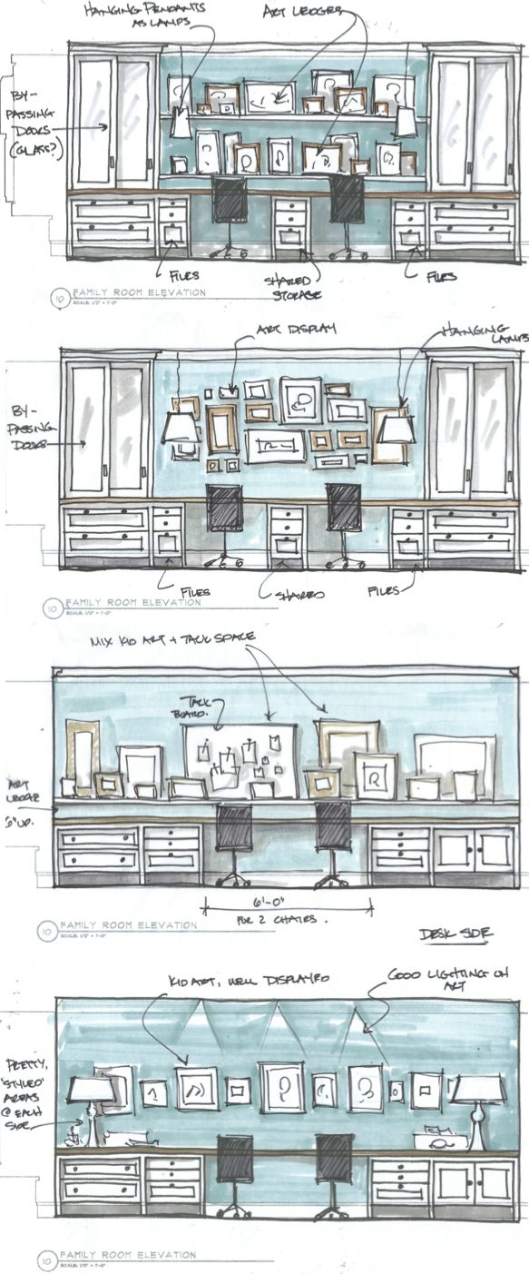 Figuring out some more custom cabinetry - this time a family shared desk area with loads of storage. More progress updates on the blog: http://www.eatsleepbreatheinteriordesign.com #KristinaCrestinDesign, #cabinetry, #deskarea