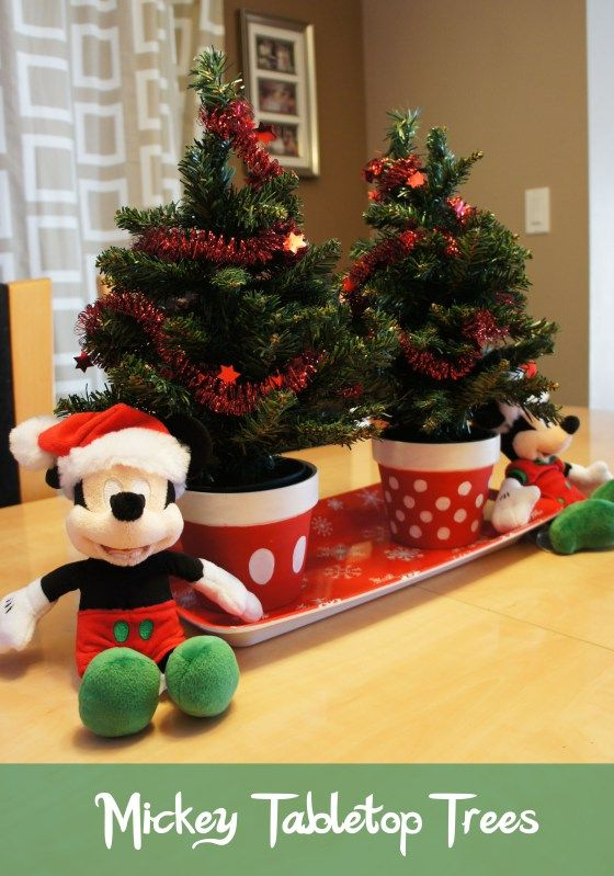 DIY Mickey and Minnie Tabletop Trees -Cute idea whether you use Mickey and Minnie/Santa and Mrs or Elf/etc