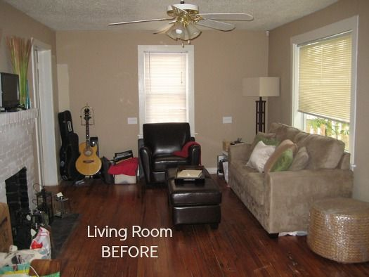 """Michelle and Brian are newlyweds enjoying first-time home ownership in a 1950s bungalow. She says, """"It's been a labor of , and we've enjoyed the challenge of turning our small, dark space into a bright and happy one."""" Here's how their living room los now… It's so pretty I went """"Ahhh!"""" when I saw how …"""