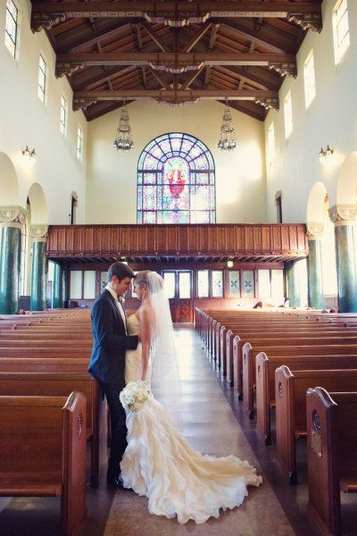Style Me Pretty | GALLERY & INSPIRATION | Yet another photo idea! Wide shoot of bride & groom in church.