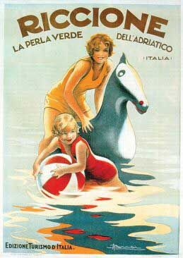 Riccione la perla verde dell'adriatico - Italy Vintage art deco poster #beach #essenzadiriviera - www.BALNEA.it