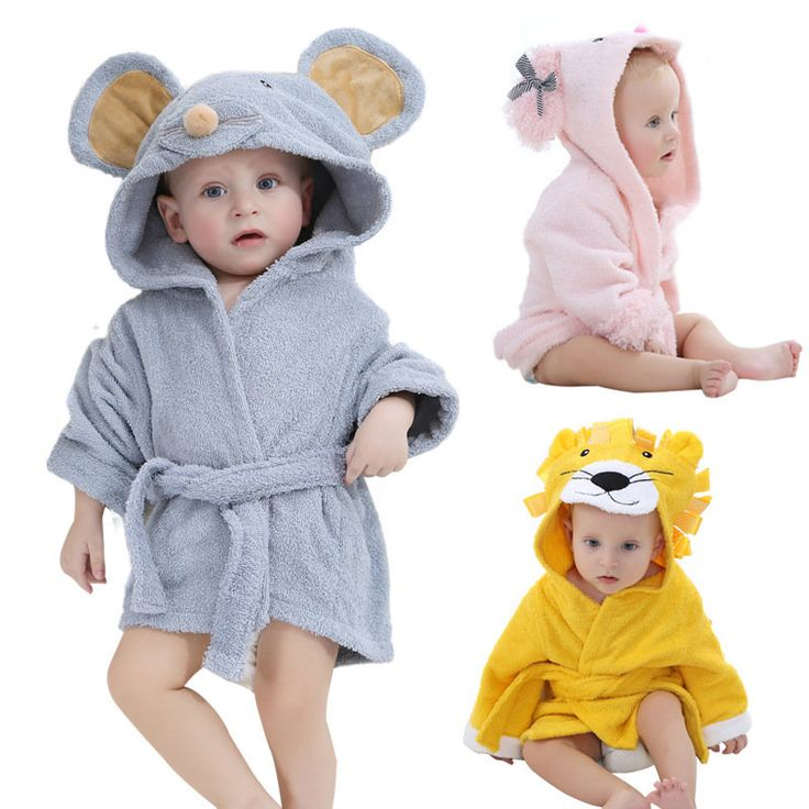 Cute Animal Baby <b>Kids Hooded Bathrobe</b> Bath Towel Cotton Bath ...
