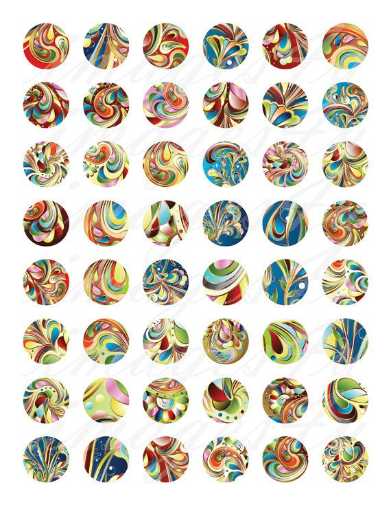 Abstract Swirls bottle cap collage sheet printable by images4you