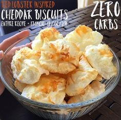 ZERO CARB RED LOBSTER CHEDDAR BISCUITS!!! 170 calories: 6Fat/0Carb/29Protein for ENTIRE recipe (makes 22-25 biscuits) Best. Recipe. EVER. So delicious!!!!