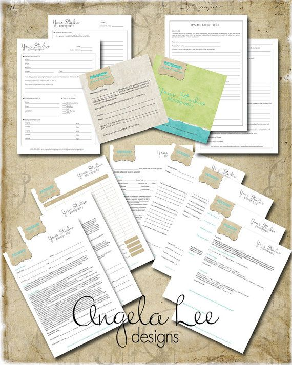 Shabby Design set of 10 professional photography business forms. Includes everything you need for your professional photography business.
