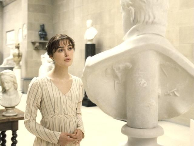 Lizzie in the sculpture room at Pemberley.  Jane Austen's Pride and Prejudice, 2005 version with Keira Knightly as Lizzie Bennet.