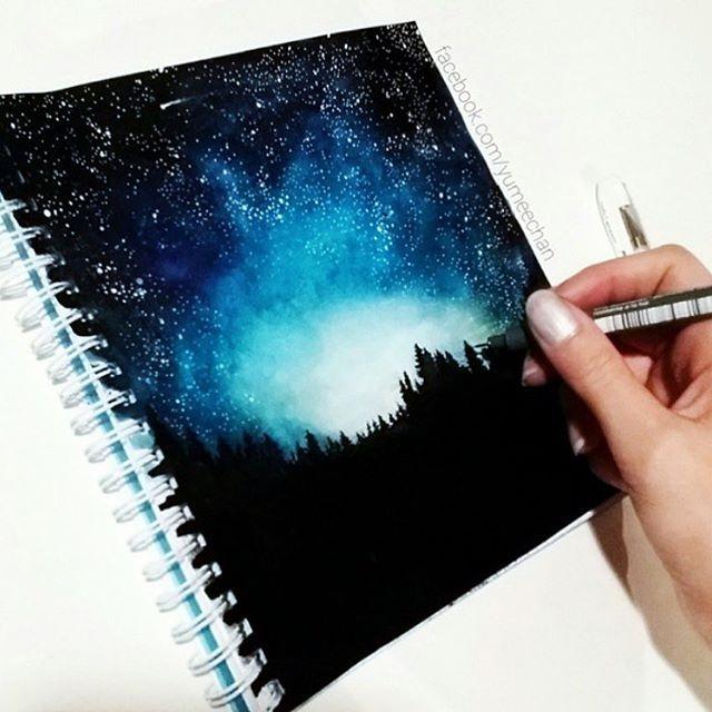 Incredible starry night by @yumeechan ☄