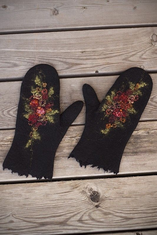Beautifully embroidered felted wool mittens