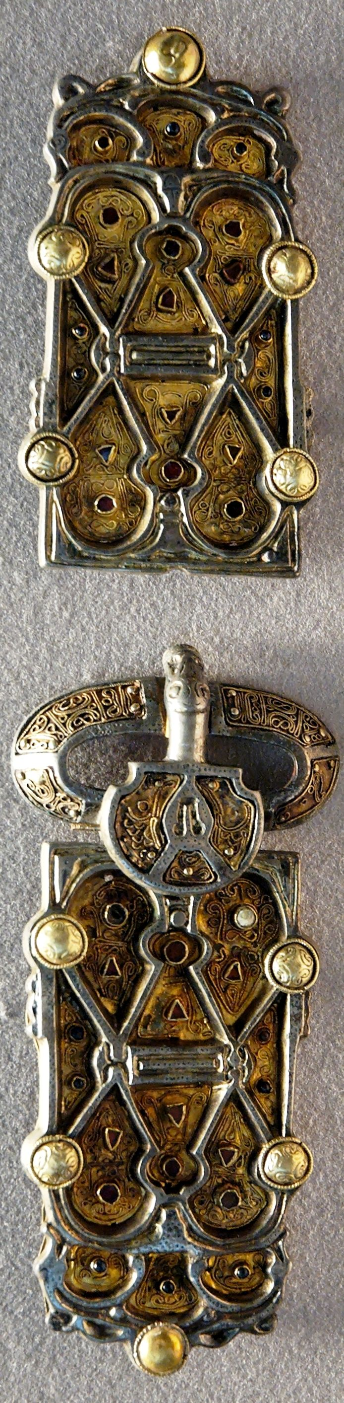 Belt plaques from the finery set of Queen Aregund (c.515–573AD), wife of Clotaire I (511–561AD), silver, glass paste & garnet, made c.570AD in Merovingian Gaul