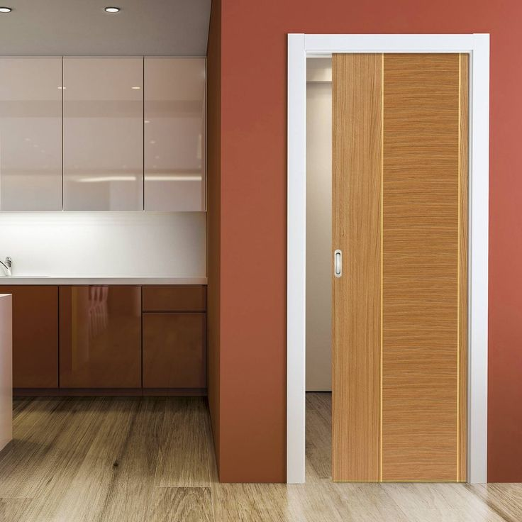 Single Pocket Venus Oak sliding door system in three size widths.  #oakflushdoor #pocketdoor #oakpocketdoor