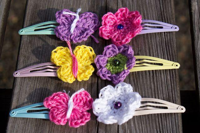 Svarta Fåret : Hårspännen med virkad fjäril/blomma