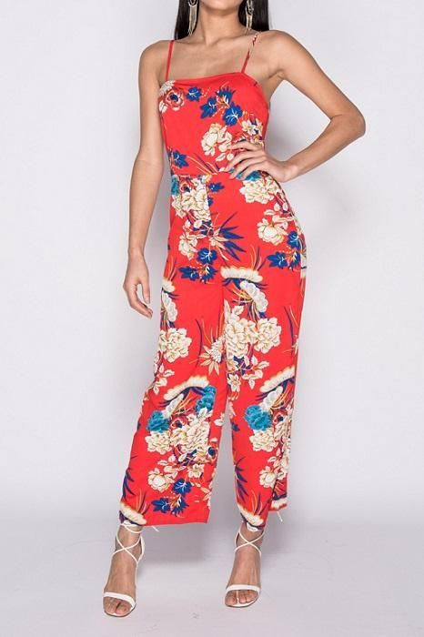74e28f3527a Red Floral Cami Wide Leg Jumpsuit