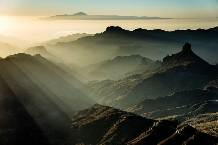 Sunset by Jorge Ortega on Gran Canaria, with Tenerife and Teide on the background 500px