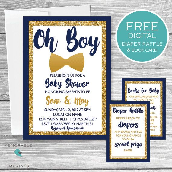Oh Boy Baby Shower Invitation, Bowtie Baby Boy Shower, Navy and Gold Invitation, Baby Shower Invitations, Gold Glitter, Printable Invitations by Memorable Imprints