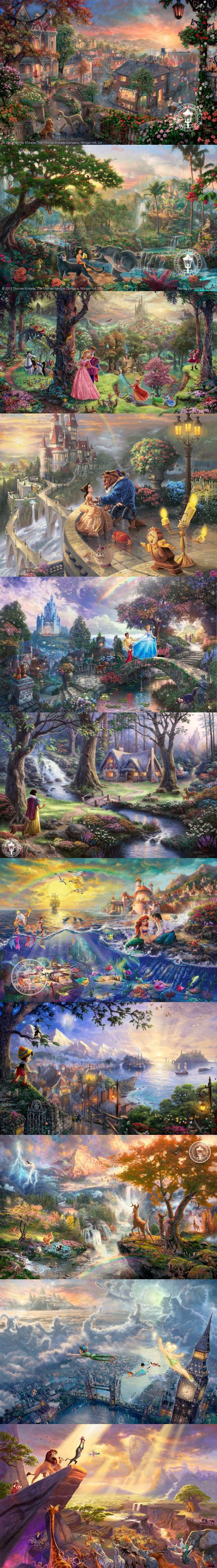 Disney Dreams Collection - Thomas Kinkade. If you look hard enough other Disney characters are hidden in different films! Jiminy Cricket is in the Lion King!