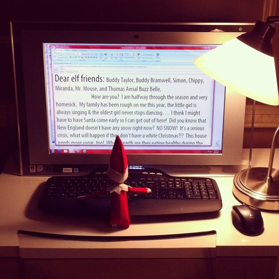 quite a few seriously funny elf on a shelf ideas. I LOVE this computer idea the most on this page though, totally cute and the letter is SERIOUSLY funny!!