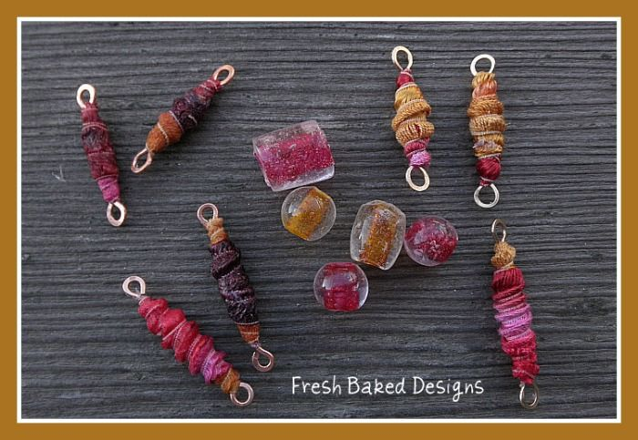 Still looking for ways to use this beautiful ribbon in jewelry.  Here's some wrapped bead links I'm experimenting with using Tacky glue to start and finish the ends. I started by making…